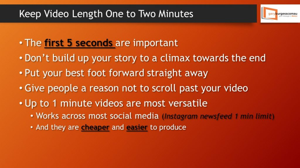 Keep video length to 2 minutes